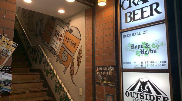 目印はこの看板!2階に上がって絶品地ビールを是非!