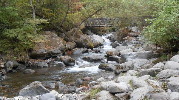流れる川の脇を進んで